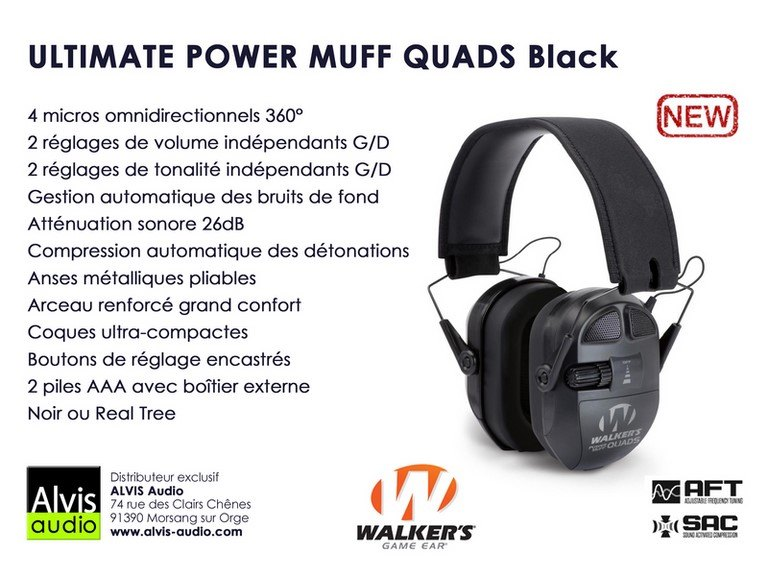 Casque chasse et tir walker's power muff quads Black