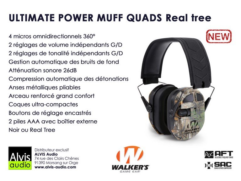 Casque chasse et tir walker's power muff quads real tree